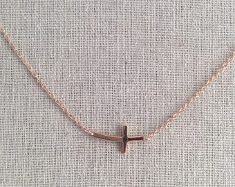 """Curvy Sideway Sided Cross Necklace Made in Silver with Rose Gold Plated Adjustable lengths in 16"""" to 18"""" chain Minimalist Modern Chain"""