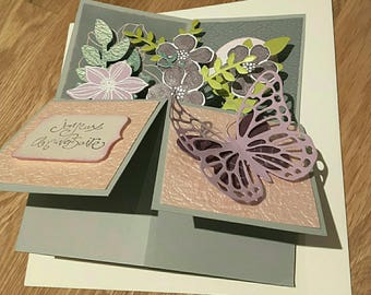 birthday card pop up flowers and butterflies to order