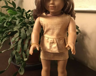 """Peplum mini dress made to fit 18"""" dolls such as American Girl"""