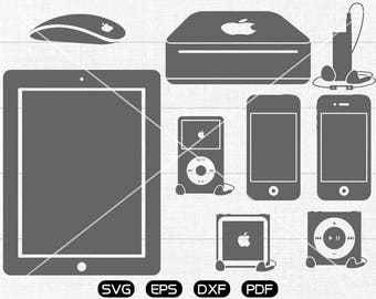 Apple iphone svg, ipad svg, MP3, MP4, mouse Clipart, cricut, cameo, silhouette cut files commercial use