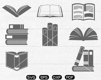 Book SVG, library Clipart, cricut, silhouette cut files commercial use