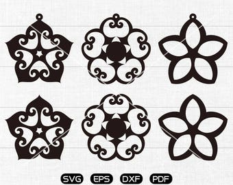 Flower SVG, Teardrop earrings svg, leather jewelry making Clipart, cricut, silhouette cut files commercial use
