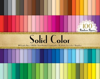 "100 Solid Color Papers in 12"" x 12"", 300 Dpi Planner Paper, Commercial Use, Scrapbook Papers, Rainbow Paper"