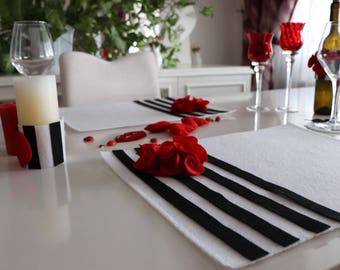 complete tableware set for valentines day table...candle cover wine cover plate mat glass mat garland
