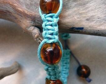 Amber and turquoise shambala bracelet
