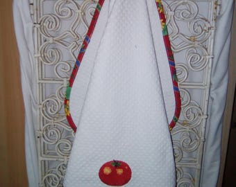 "Tea towel embroidered ""tomato"" to hang handmade"