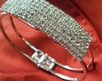 Rhinestone and Silver cuff bracelet.   Vintage cuff, snap closure, vintage rhinestone