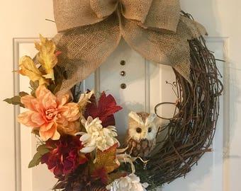 Owl Wreath   Fall Wreath  