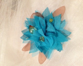 Blue flower hair comb turquoise and chocolate