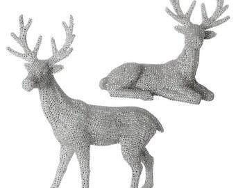 Raz Imports 20'' New Silver Stone Deer (Set of 2) RAZ3703440