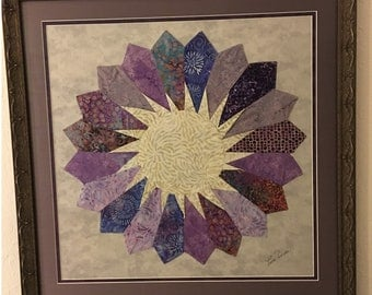 Framed Dresden in shades of purple, lavender, aqua, blue, etc.  32 x 32