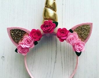 Unicorn headband, girls unicorn headband, flower unicorn headband, unicorn horn headband, gifts for girls, gold unicorn horn