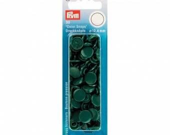 30 boutons pression Prym rond vert foncé Color snaps 393 131