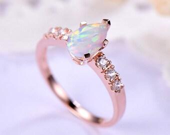 Opal Engagement Ring Rose Gold 14k 18k 925 Sterling Silver Pear Shape CZ Diamond Art Deco Women Wedidng Bridal Ring Anniversary Promise Set