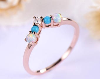 Opal Wedding Band CZ Cubic Zirconia Diamond 14k 18k Rose Gold 925 Sterling Silver V Shape Curve Bridal Stacking Matching Ring Women Promise