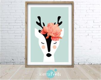 Deer Wall Art Print, Deer Head, Antlers, Woodlands Nursery Animal, Digital Download, Large Poster, Colour, Nursery Decor, Flower