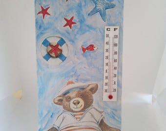 thermometer technical bear decoupage and paint