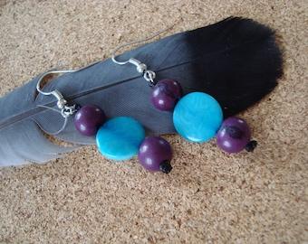 Original Tagua seed purple and blue earrings