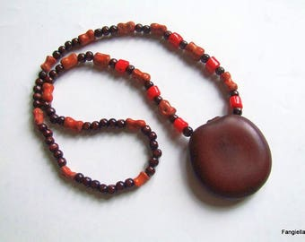 Rustic necklace seeds entada Brown, wooden beads and two kinds of coral