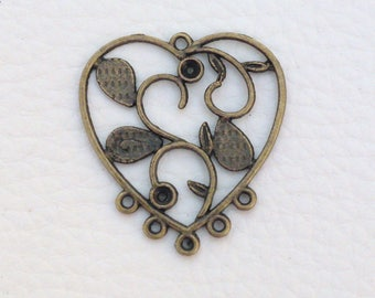 Connector / bronze heart pendant