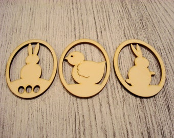 Set of 3 Easter egg 1236 embellishment wooden creations