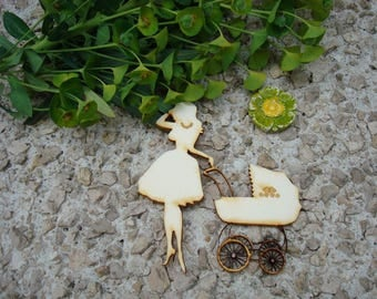 The woman with pram 2032 embellishment wooden creations