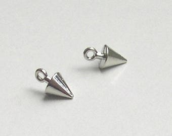 Silver-plated jewelry cone shaped charm