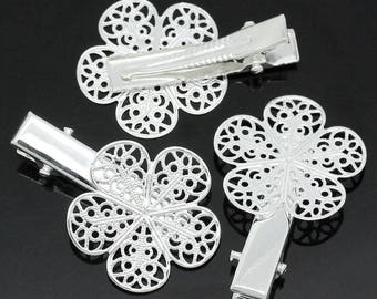 X 3 hair clips Silver Flower filigree