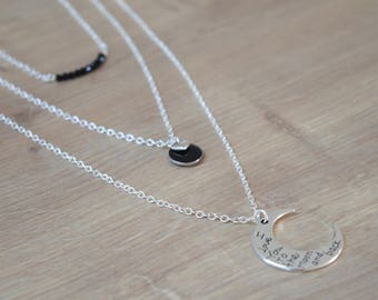 Silver multi strand moon necklace