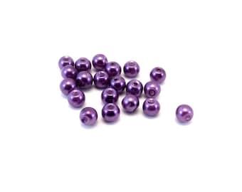 Set of 20 glass Pearl imitation beads purple