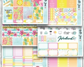 Hello Summer || VARIOUS OPTIONS || Weekly Spread Planner Sticker Kit for Erin Condren, Happy Planner, Kikki K and More