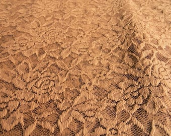 Beige lycra lace fabric