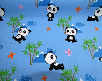 "Pattern ""panda"" color sky blue cotton jersey fabric"