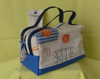 Vanity toiletries or makeup or lunch bag fabric costume and blue faux with matching case