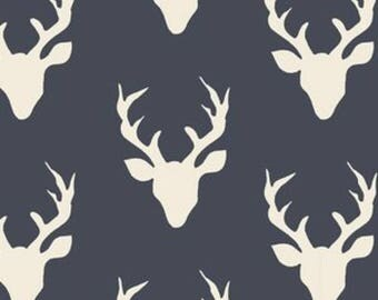 Art Gallery BUCK FOREST TWILIGHT Navy Deer Fabric