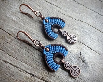 Macrame earrings, handcrafted earrings, copper earrings