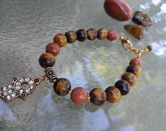 Hamsa Charm Bracelet , Tigerseye & Goldstone , Crystal Jewelry , Crystal Bracelet , Yoga Jewelry