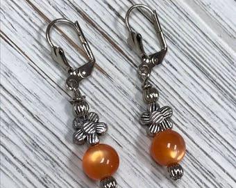 Silver and Orange Beaded Dangle Earrings