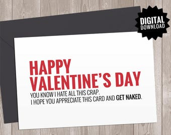 Funny Valentine Card. Printable Naughty Valentines Day Card Boyfriend, Girlfriend. Dirty Sassy Rude Sarcastic Get Naked Note for him - her