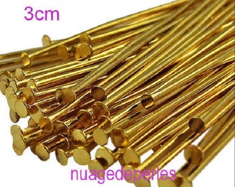 30 tiges tête plate clou pins 3cm doré