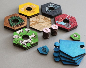 Settlers of Catan Board | 5-6 Player Expansion. Handmade. Custom, Wood, Laser Cut. Board Game Pieces. Gift for gamer. In stock.