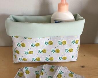 Pretty basket storage with its washable wipes