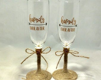 Rustic Boho Wedding Decor Toasting Glasses Wedding Champangne Flutes, Happily Ever After, Toasting Flutes, Wedding Decor