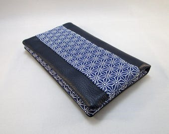 Tobacco pouch in faux Navy and marine asanoha pattern fabric