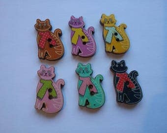 6 buttons wood cat 30 x 16 mm No. 225