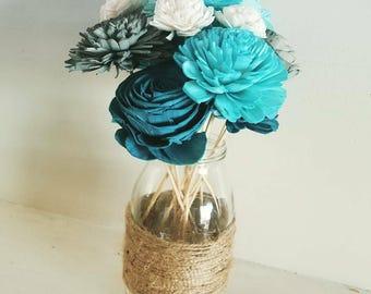 Sola wood flowers on a glass jar, blue wood flowers, blues color scheme, blue home decor, blue wedding centerpieces, rustic centerpieces