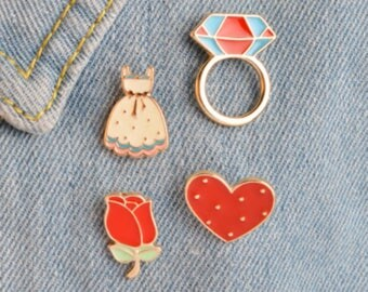 Rose Enamel Pin. Love Heart Pin Set. Dress Badge. Diamond Ring Pin. Red Floral Brooch. Lapel Jewelry. Birthday Present. Valentines Gift.