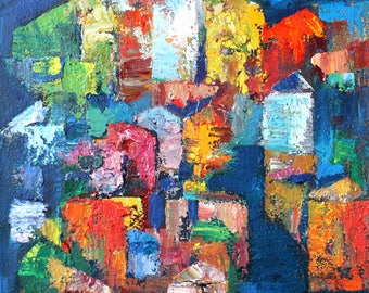 Sunny city, ORIGINAL Oil Painting, Flowers Oil Painting,  by Vladimir Volnov Oil on Canvas
