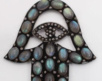 Pave Diamond Pendant, Diamond Hansa Pendant, Hansa Pendant ,Labdrorite  Hansa Pendant, 92.5 Sterling Silver Pendant