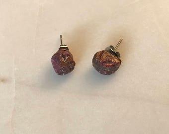 raw ruby stud earrings